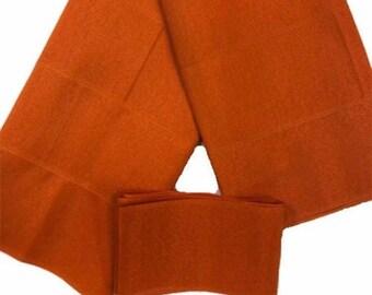 Orange Plain Textured Aso-Oke - 3 Piece Gele Headtie / Ipele Shoulder Set
