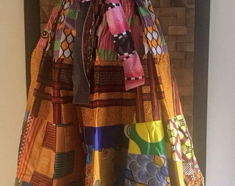 Ankara Print Patchwork Multicolor #21 Full Skirt M/L