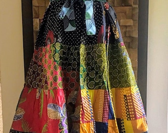 Ankara Print Patchwork Multicolor #9 Full Skirt M/L