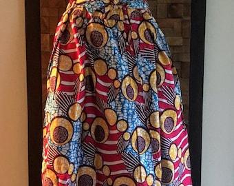 Ankara Print Spring Sweets Full Length Skirt (Elastic Waist) - M/L
