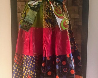 Ankara Print Patchwork Multicolor #19 Full Skirt M/L