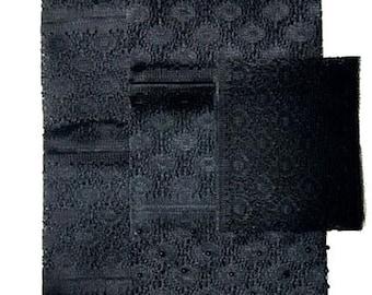 Textured Aso-Oke (Black) - 3 Piece Gele Set