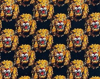 BLACK Isiagu Traditional Nigerian Fabric | Exotic Lion Head Print | Quality Wool Texture | Chieftaincy Feni | By the Yard | Harcourt Fabrics
