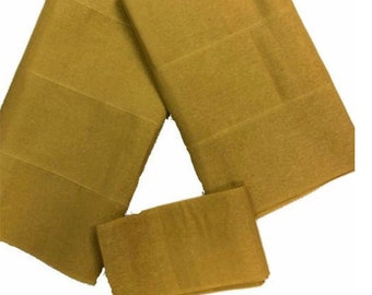 Gold Plain Textured Aso-Oke - 3 Piece Gele Headtie / Ipele Shoulder Set