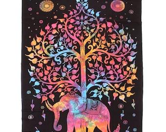 Wisdom & Grace Elephant Tapestry / Wall Hanging #2 - Rainbow