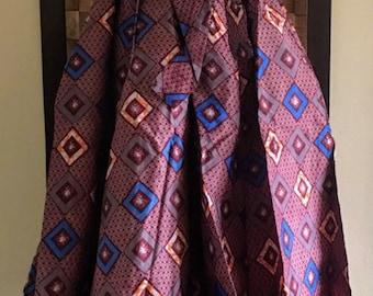 Ankara Print Purple & Orange Lady Full Length Skirt (Elastic Waist) - M/L