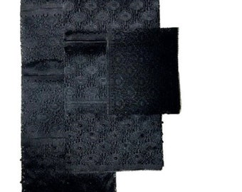 Black Fancy Beaded Lace Aso-Oke - 3 Piece Gele Headtie / Ipele Shoulder Set