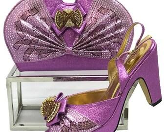 Italian Design Open Toe Shoes w/ Matching Clutch Bag - Lilac (US Size 10 & 11 - 4 inch heel)