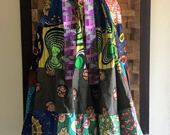 Ankara Print Patchwork Multicolor #23 Full Skirt L/XL