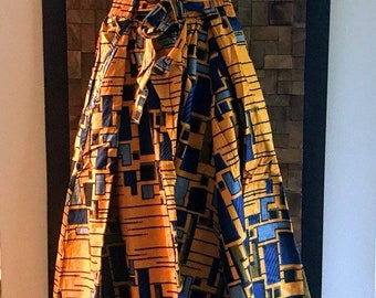 Ankara Print Gold & Blue Abstract Full Length Skirt (Elastic Waist) - M/L