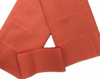 Peach Plain Textured Aso-Oke - 3 Piece Gele Headtie / Ipele Shoulder Set