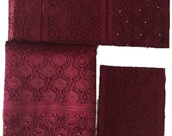Textured Aso-Oke (Burgundy) - 3 Piece Gele Set