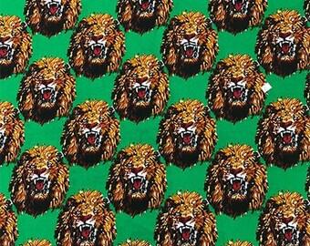 Isi-agu Lion Head Feni Traditional Wool Fabric - Green (HF6)