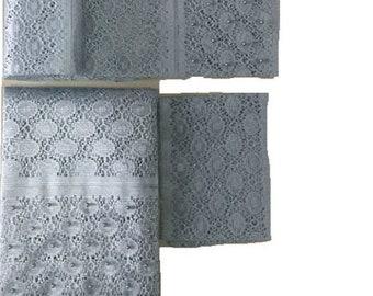 Silver Fancy Beaded Lace Aso-Oke - 3 Piece Gele Headtie / Ipele Shoulder Set