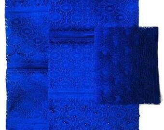 Textured Aso-Oke (Royal Blue) - 3 Piece Gele Set