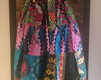 Ankara Print Patchwork Multicolor #20 Full Skirt M/L
