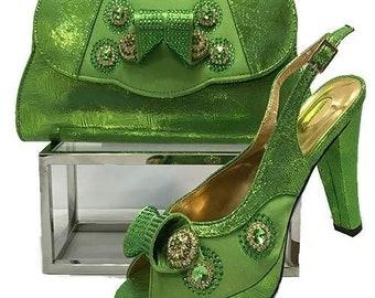 Italian Design Open Toe Shoes w/ Matching Clutch Bag - Lemon Green (US Size 6, 8, 9, 10, 11, 12 - 4.5 inch heel)