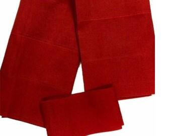 Red Plain Textured Aso-Oke - 3 Piece Gele Headtie / Ipele Shoulder Set
