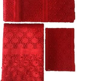 Red Fancy Beaded Lace Aso-Oke - 3 Piece Gele Headtie / Ipele Shoulder Set