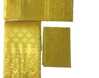 Yellow Fancy Beaded Lace Aso-Oke - 3 Piece Gele Headtie / Ipele Shoulder Set