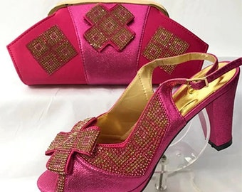 Italian Design Open Toe Shoes w/ Matching Clutch Bag - Fuschia Pink (US Size 10 - 3.5 inch heel))