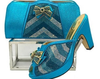 Italian Design Open Toe Shoes w/ Matching Clutch Bag - Turquoise Blue (US Size 6, 8, 10, 11 - 4 inch heel)