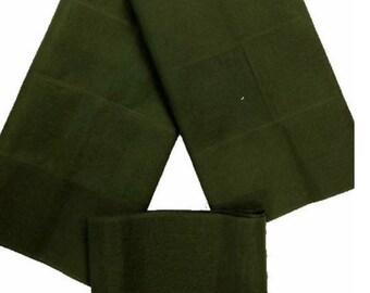 Olive Green Plain Textured Aso-Oke - 3 Piece Gele Headtie / Ipele Shoulder Set