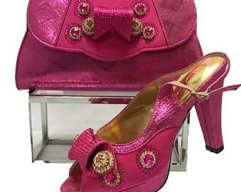 Italian Design Open Toe Shoes w/ Matching Clutch Bag - Fuschia Pink (US Size 6, 7, 9, 10, 11, 12 - 4.5 inch heel)