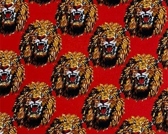 Amatiye Isi-agu Lion Head Feni Traditional Wool Fabric - Red (HF8) - 19.99/yd