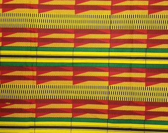 Premium Ankara Print KENTE Fabric - 3 or 6 yards (HF202)