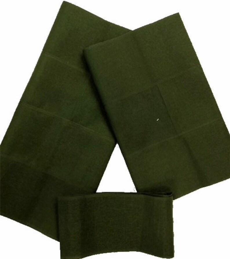 Olive Green Plain Aso-Oke 3 Piece Gele Set