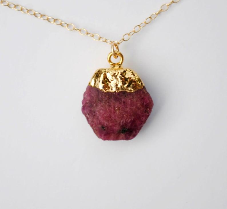 Raw Gemstone Necklace Raw Ruby Necklace Genuine Ruby Necklace Raw Birthstone Necklace Gold Ruby Necklace July Birthstone Necklace