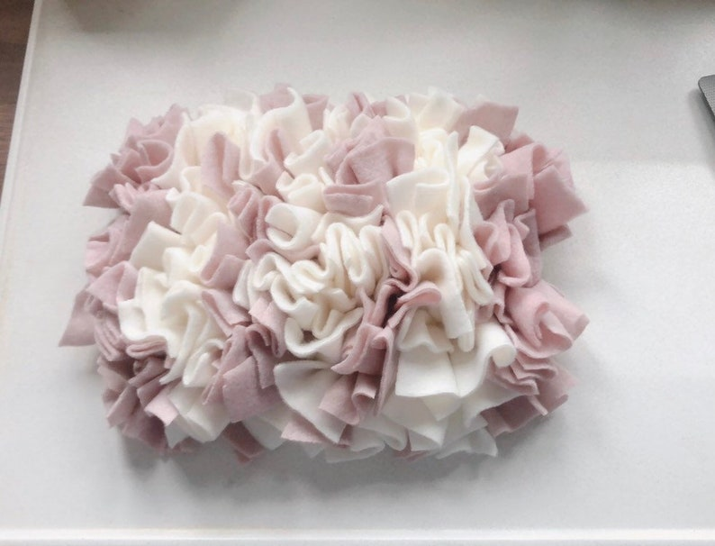 Our cute and custom Snuffle Mat designed for the smaller dog.White blush pink treat mat dog enrichment puzzle slow feeder 25x20cm/'s Peanut