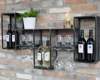 Industrial Wine Wall Cabinet