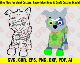 Paw Patrol Mighty Pups Zuma Colour And Outline Svg Cdr Eps