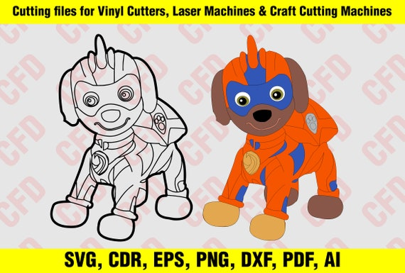 Paw Patrol Mighty Pups Zuma Colour And Outline Svg Cdr Eps Dxf Ai Pdf Jpg Png Cutting File