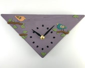 Wall Clock - Birds on Sparkly Purple