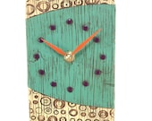 Turquoise Clock with Textured Circles