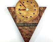 Wall Clock - Red & Gold w/ Petroglyphs