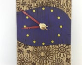 Purple Clock with Textured Flowers
