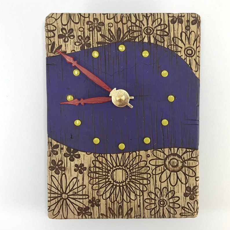 Purple Clock with Textured Flowers image 0