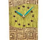 Lime Green Clock with Textured Squares