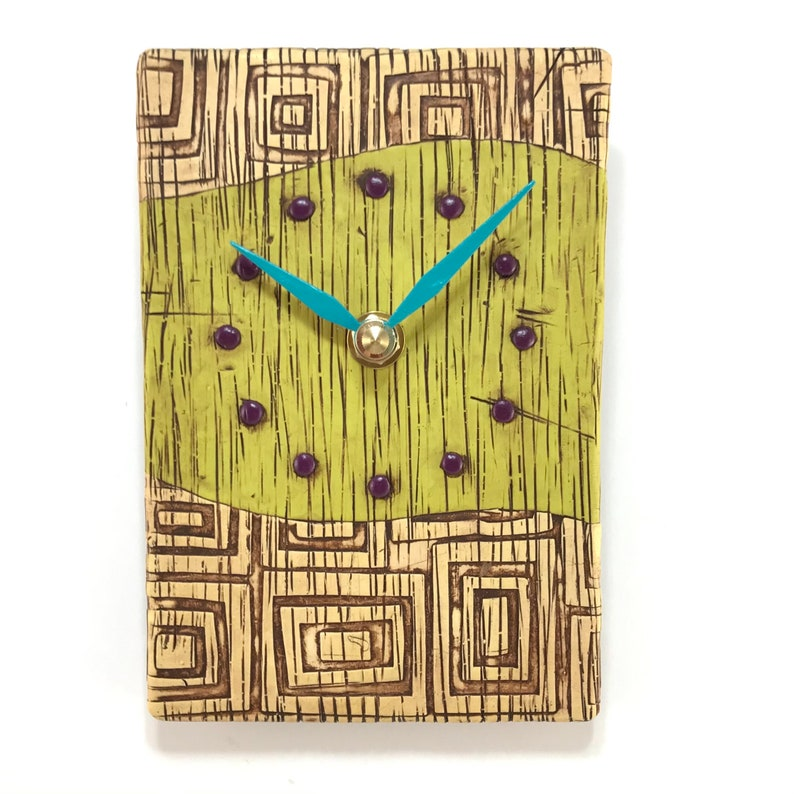 Lime Green Clock with Textured Squares image 0