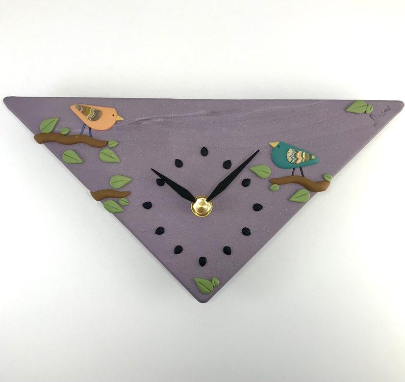 Wall Clock  Birds on Sparkly Purple image 0