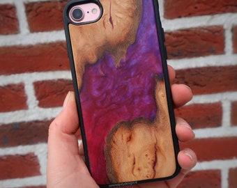 Personalised phone case wood and epoxy