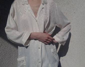 Old HAND MADE SWEDISH Cotton Day Dress w Battenberg and Lace Details Bust 46 Blouson Style White Cotton