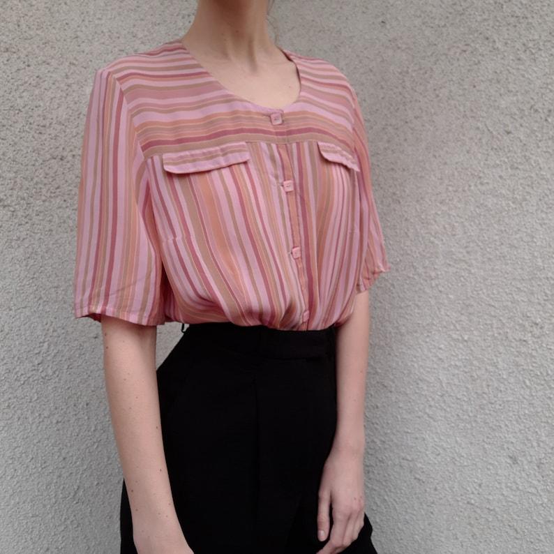striped pink rose Vintage 100/% viscose button up blouse