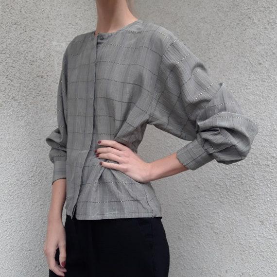 Vintage MARC CAIN silk buttoned back blouse - chec