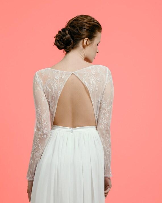 Sample Sale Open Back Boho Wedding Dress Long Sleeve Lace And Etsy