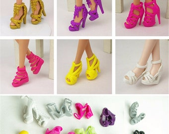 dc335a78e9 10 Pairs Fashion Dolls Heels Shoes Sandals For barbie Doll Toy